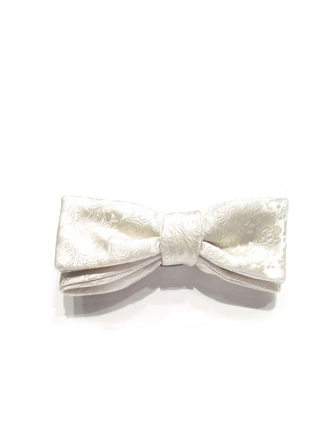 Picture of Hemley Paisley White Silk Bow Tie