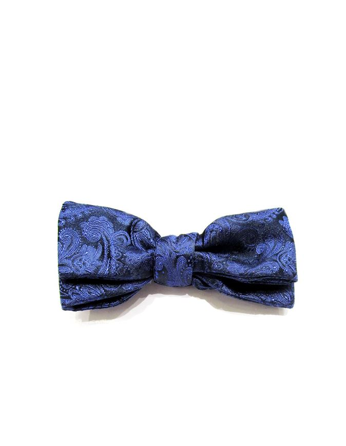 Picture of Hemley Paisley Navy Silk Bow Tie