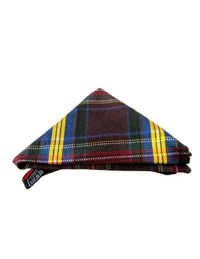 Picture of Hemley Brown & Yellow Checkered Pocket Square