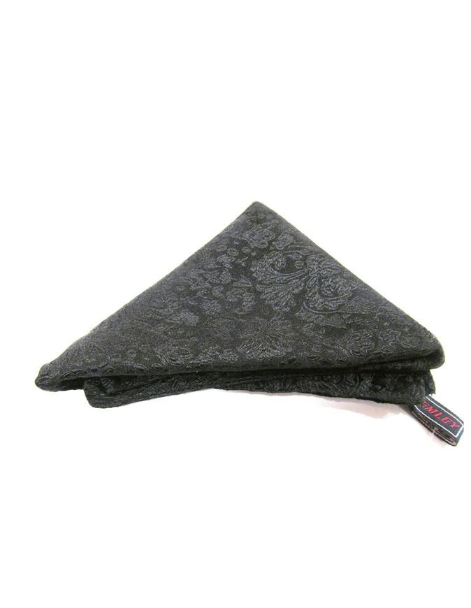 Picture of Hemley Black Paisley Silk Pocket Square