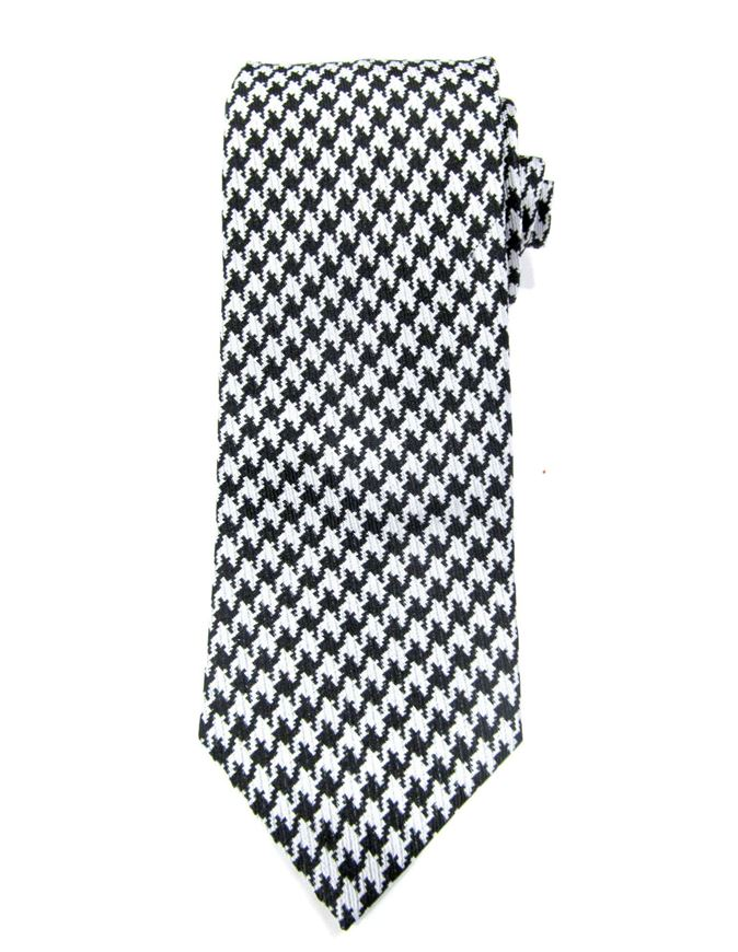 Picture of Hemley Black & White Houndstooth Silk Tie