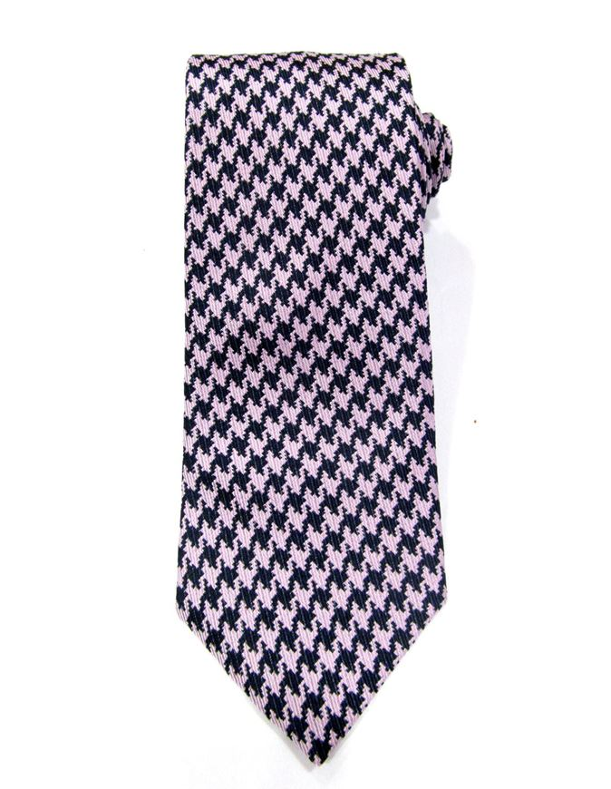 Picture of Hemley Pink & Black Houndstooth Silk Tie