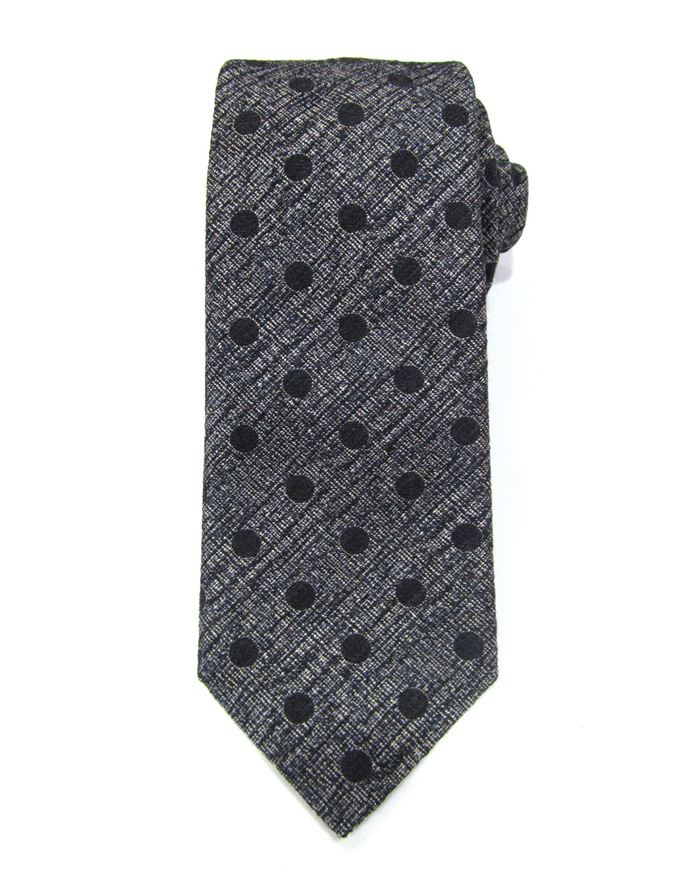 Picture of Hemley Black Textured Polka Dots Silk Tie