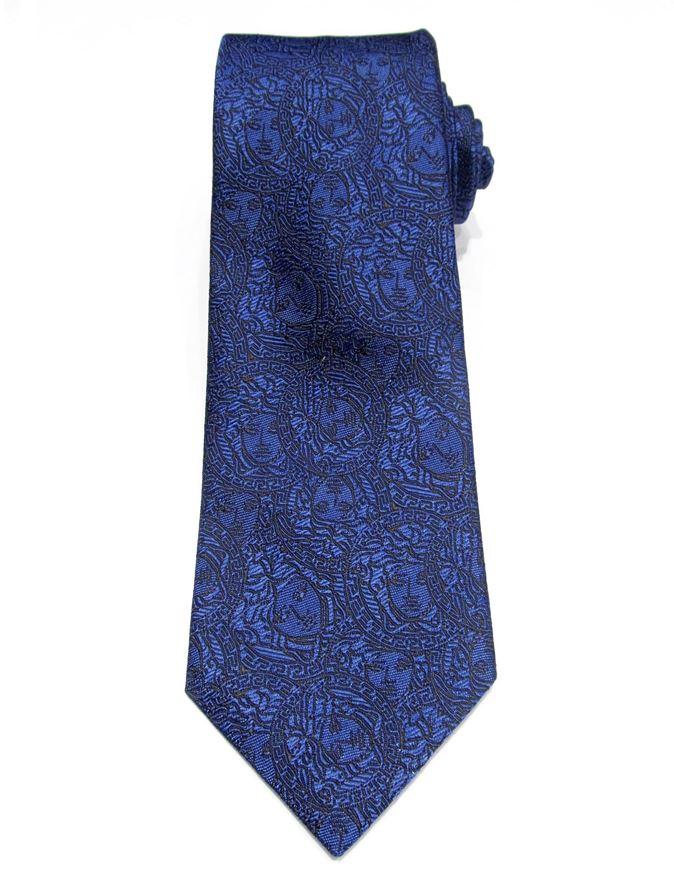 Picture of Versace Navy Medusa Pattern Silk Tie