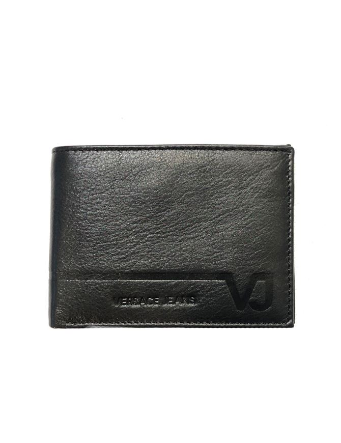 Picture of Versace Jeans Black Calf Leather Bi-fold Wallet