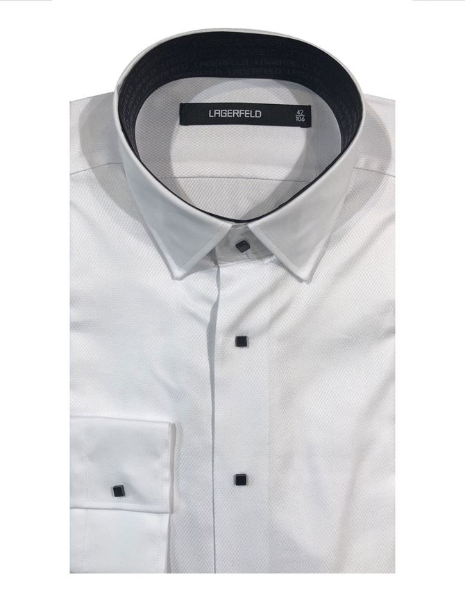 Picture of Lagerfeld Textured White Cotton Contrast Collar Shirt