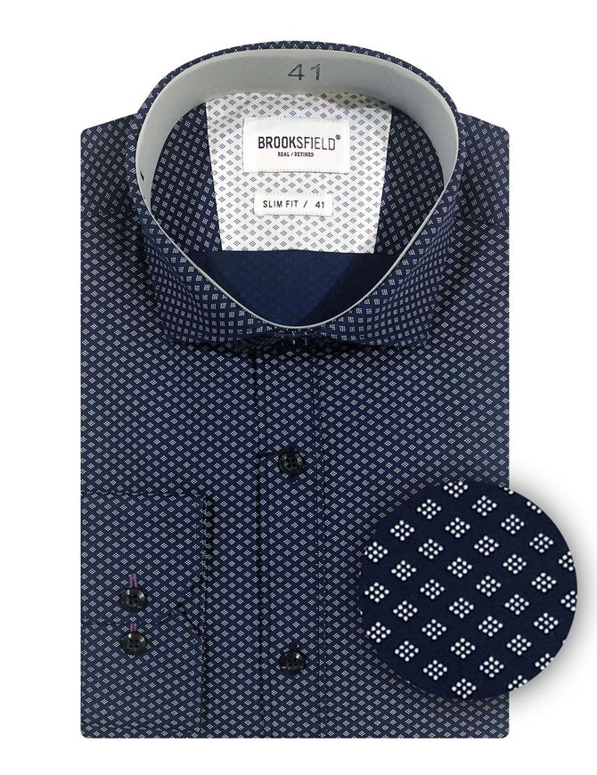 Picture of Brooksfield Navy Geo Dots Slim Shirt
