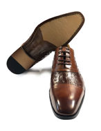 Picture of Cutler Ostrich Laceup Brown Shoes