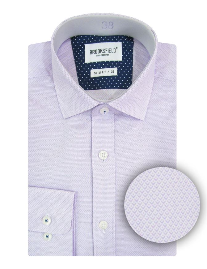 Picture of Brooksfield Lilac Micro Print Slim Shirt