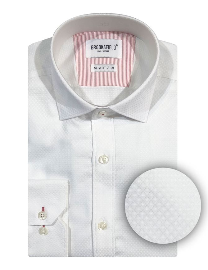 Picture of Brooksfield White Diamond Jacquard Shirt