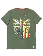 Picture of Gaudi Gold Map Print Green V-Neck Tshirt
