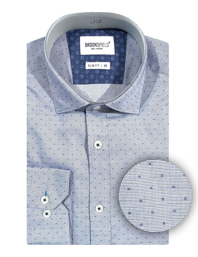 Picture of Brooksfield Navy Dobby Cube Shirt