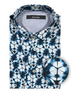 Picture of Osvaldo Trucchi Blue Kaleido Patterned Shirt