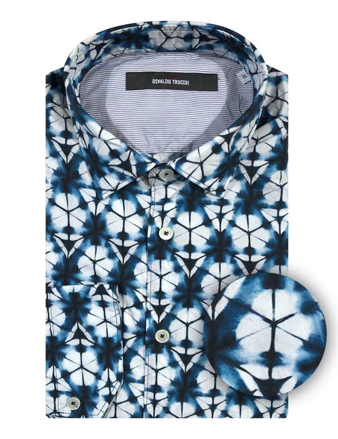 Picture of Osvaldo Trucchi Blue Kaleido Patterned Shirt