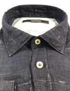 Picture of Osvaldo Trucchi Navy Check Weave Shirt