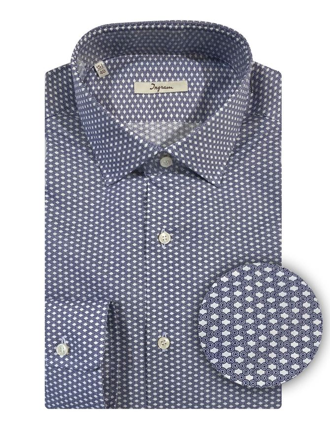 Picture of Ingram Abstract Print Navy Shirt