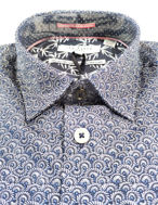 Picture of Ted Baker Geometric Floral Print Navy Cotton Slim Shirt
