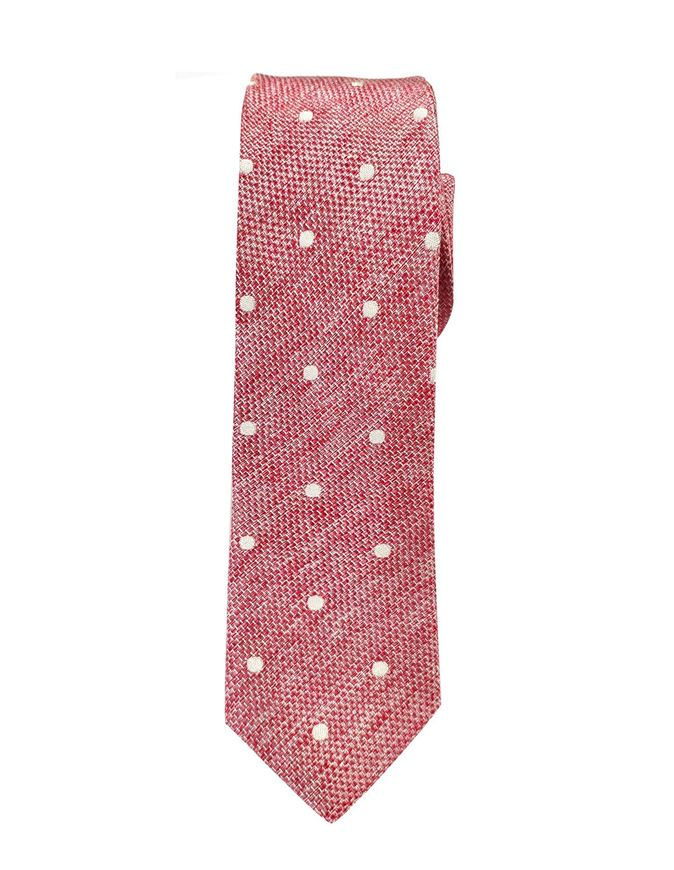 Picture of Hemley German Made Polka Dot Textured Skinny Cotton Silk Tie