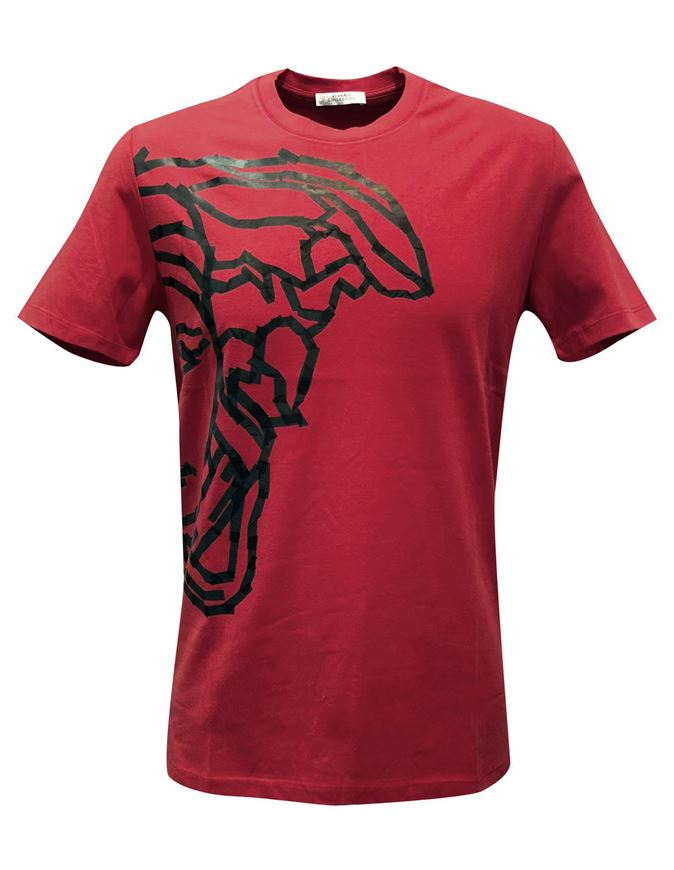 Picture of Versace Half Medusa Tape Print Red T shirt
