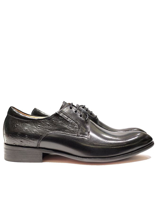 Picture of Cutler Black Ostrich Laceup Shoes