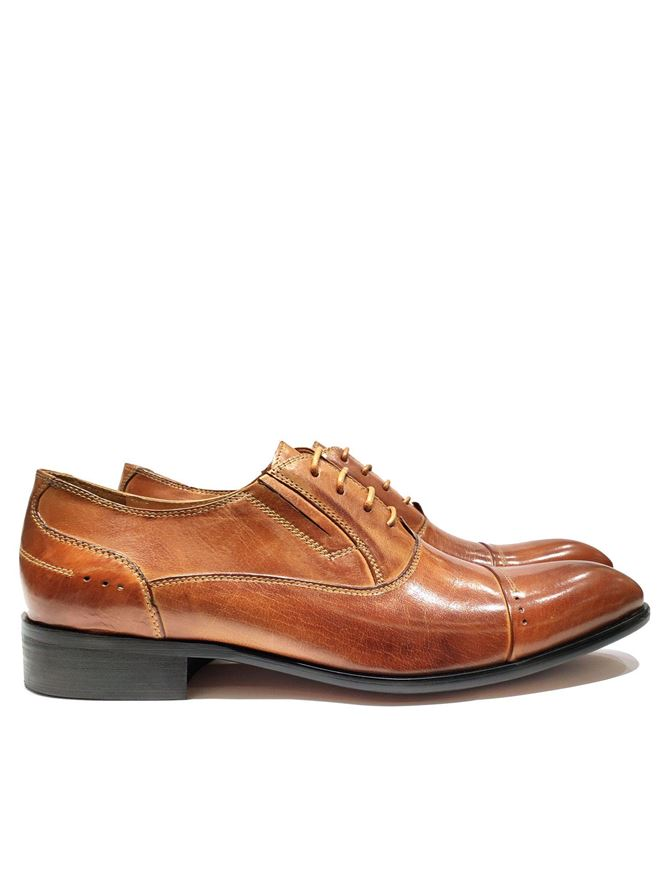 Picture of Cutler Tan Laceup Gusset Shoes