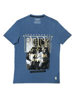 Picture of Gaudi Biker Print Blue Round Tshirt