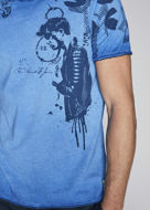 Picture of Gaudi Rock Print Blue V-Neck Tshirt