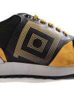Picture of Versace Greek Motif Print Sneakers in Gold