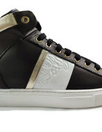 Picture of Versace Gold Trim Sneakers in Black