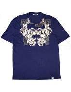 Picture of Versace Baroque Print Navy T shirt