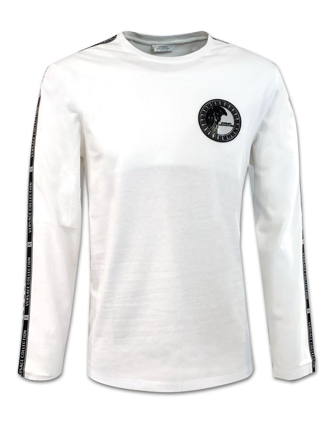 Picture of Versace Medusa Badge with Tape Detailed White Long Sleeve T shirt