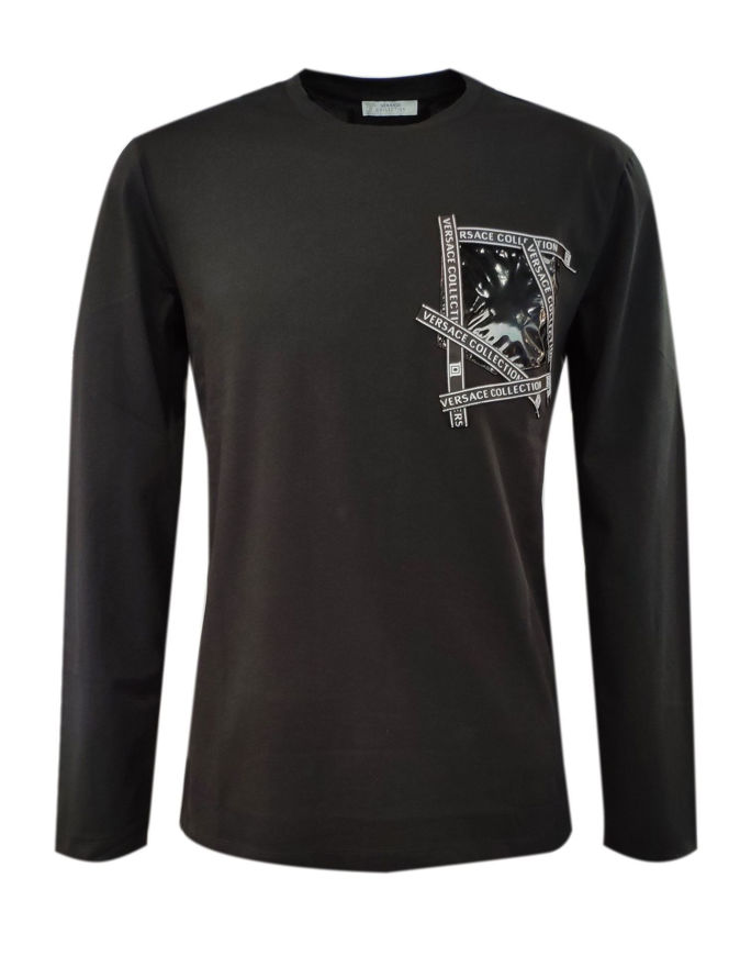 Picture of Versace Logo Tape Patch L/S Blk Tee