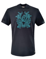 Picture of Versace Baroque Embroid Navy Polo