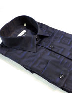 Picture of Versace Greek Key Weave Navy Cotton Shirt