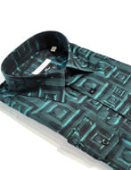 Picture of Versace Greek Key Weave Turquoise Cotton Shirt