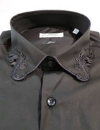 Picture of Versace Fancy Collar Black Cotton Shirt