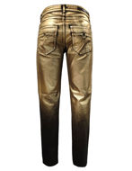 Picture of Versace Collection Gold Painted Stretch Jean