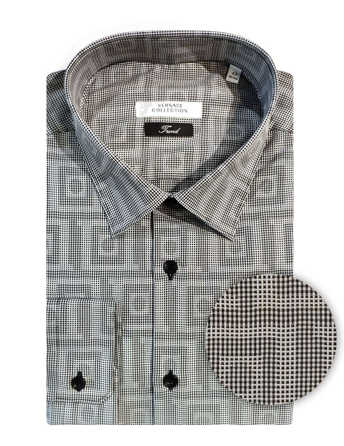 Picture of Versace Greek Key Weave Grey Cotton Shirt