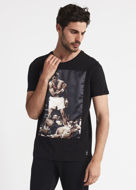 Picture of Gaudi Ali Satin Print Patched Black Tshirt