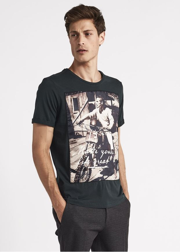 Picture of Gaudi James Dean Print Patched Green Tshirt