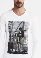Picture of Gaudi Silver Print L/S White Tshirt