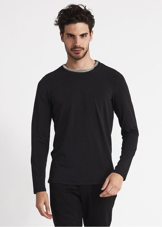 Picture of Gaudi Contrast Neck Trim L/S Black Tshirt