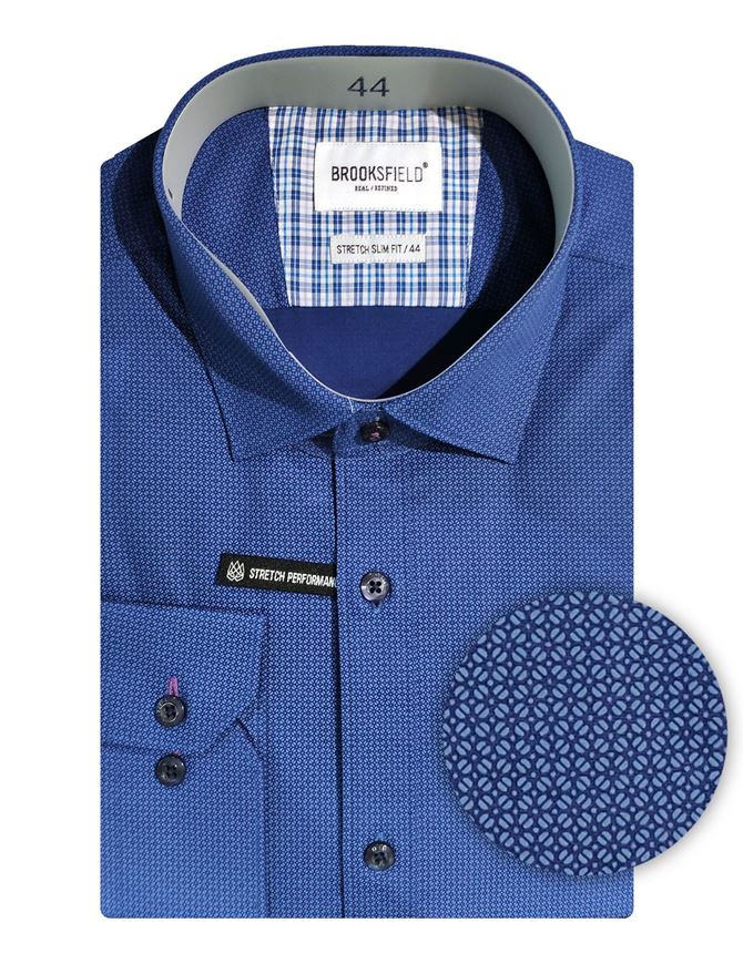 Picture of Brooksfield Navy Geo Stretch Shirt