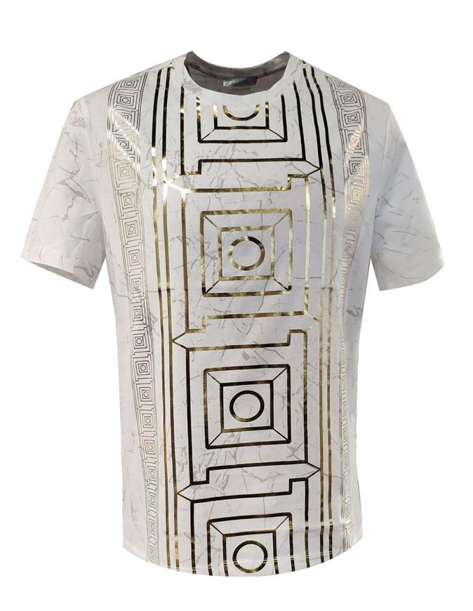 Picture of Versace Marble Print White T-shirt