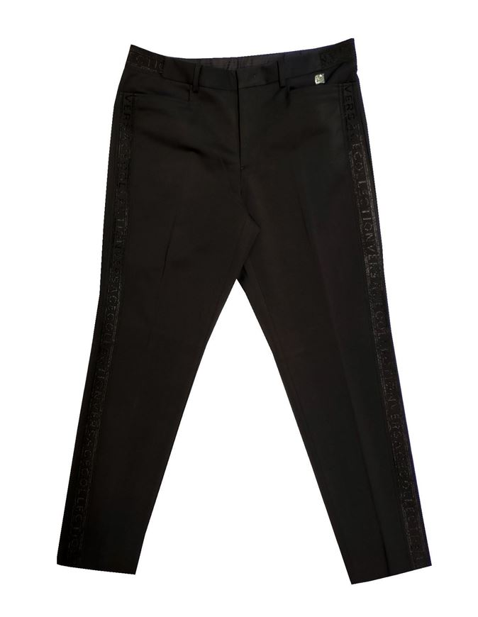 Picture of Versace Logo Tape Black Pants