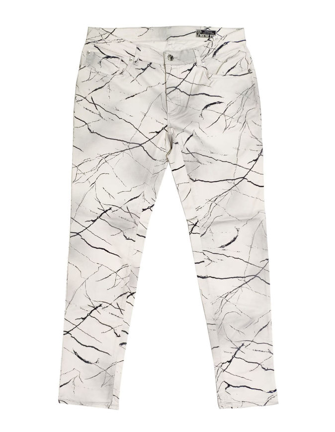 Picture of Versace Marble Print White Stretch Jean
