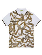 Picture of Versace Jeans Columns S/S Wht Polo