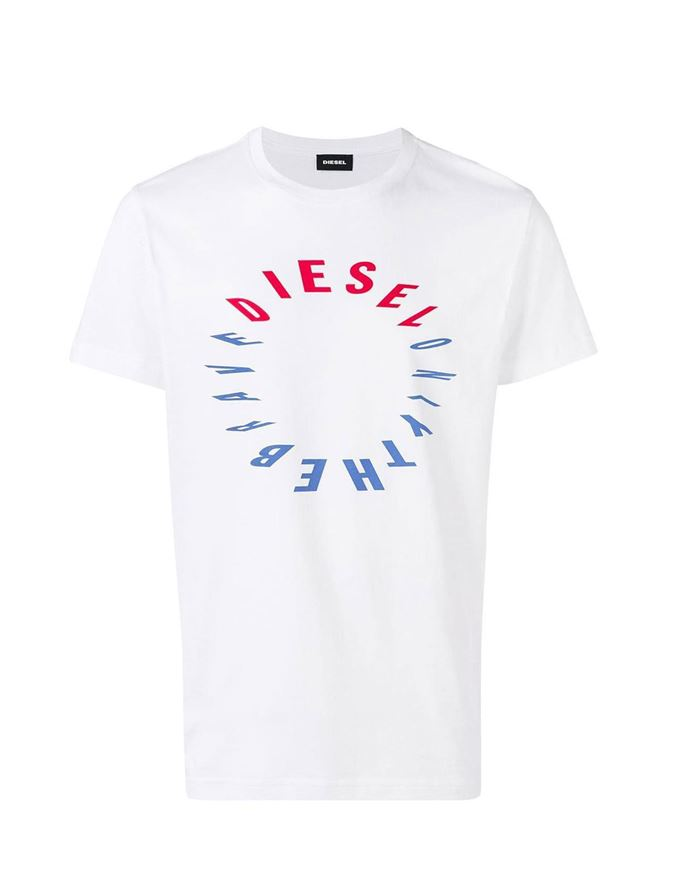 Picture of Diesel White T-Diego Printed T-shirt