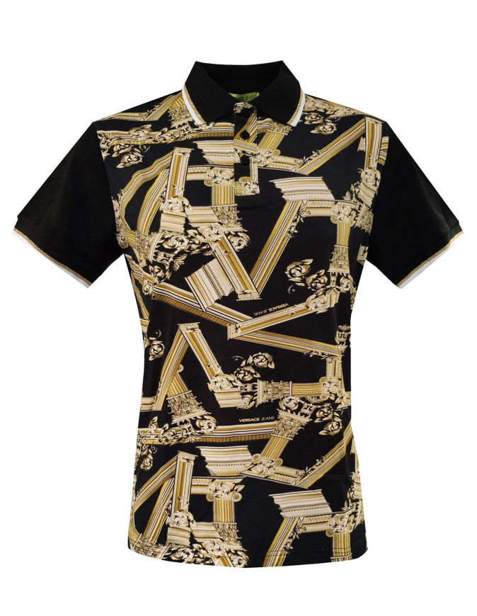 Picture of Versace Jeans Columns S/S Blk Polo