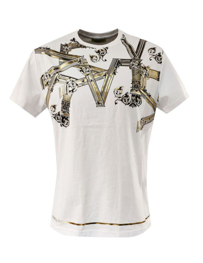 Picture of Versace Jeans Emboss Columns White Tee